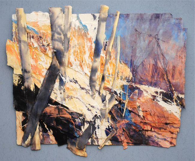 THE VALLEY, WINTER LIGHT (CARN LLIDI) 2015, Price: £5850.00, Medium: Mixed Media on paper, Size: 55 X 65 cms