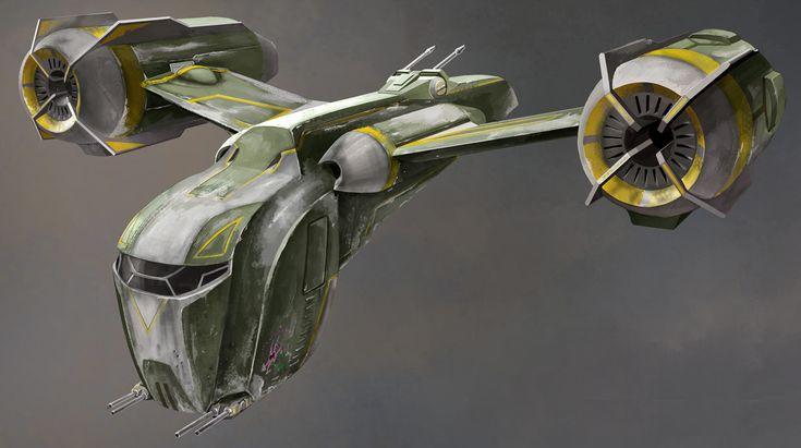 Diseños de la nave HALO qe aparce en las serie de animación Clone Wars. Es una nave se asalto SS-54 utilizada por cazadores de recompensas.