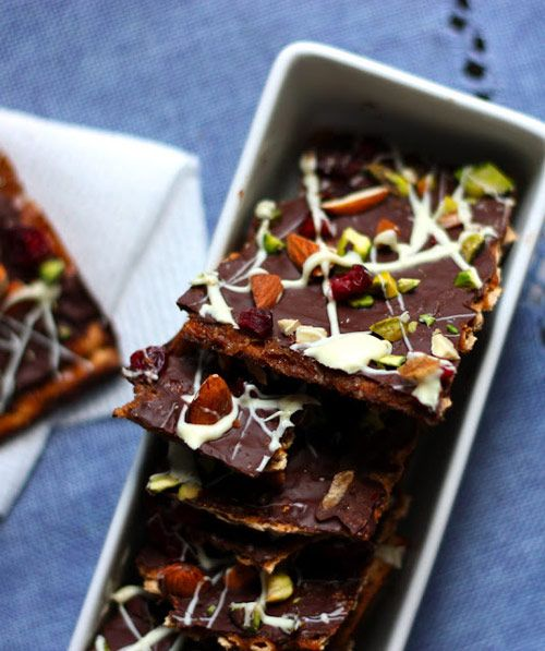 Dark Chocolate-Toffee Matzo Bark with Pistachios, Almonds, and ...