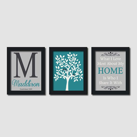 Custom Family Monogram Initial Love Bird Tree Quote Teal Set of 3 Prints Housewarming Wedding Gift Anniversary Wall Art Decor Picture on Etsy, $32.00