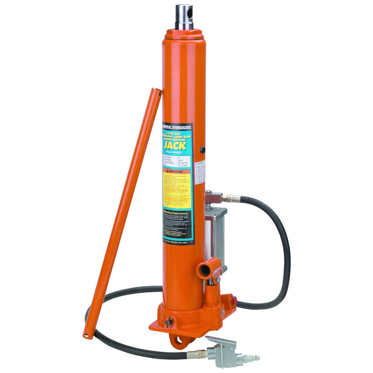 The extra long ram on this air/hydraulic jack delivers 17