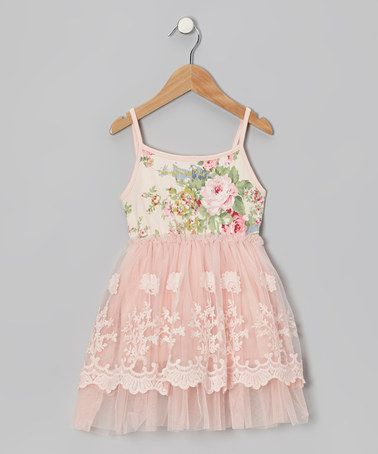 Peach Floral Lace A-Line Dress - Infant, Toddler & Girls by Designer Kidz on sale today!