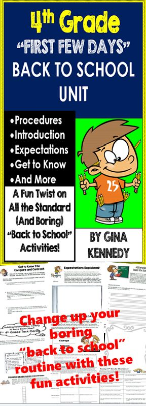 """Start your 4th grade year off right, with these fun creative """"back to school"""" activities! This unit includes introductory activities, procedural and expectation activities as well as exciting """"get to know you"""" fun. From writing a """"Top Twenty"""" hit about the expectations, to alliterating the rules, to a poster competition, or even creating a self-esteem timeline, your students will be fully engaged from day one. Move away from the same boring and dull """"back to school routines and strategies…"""