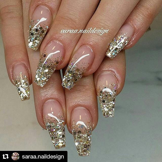 "Glitter gradient gold 2,193 Likes, 5 Comments - Dawn (@10_perfectnails) on Instagram: ""#Repost @saraa.naildesign with @repostapp ・・・  @saraa.naildesign @saraa.naildesign…"""