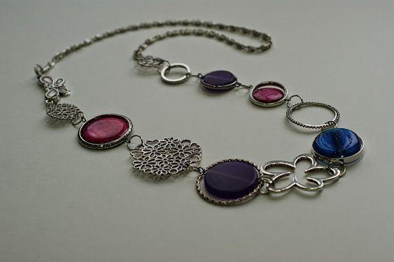 FREE EARRINGS Purple long necklace  by LesBijouxLibellule on Etsy