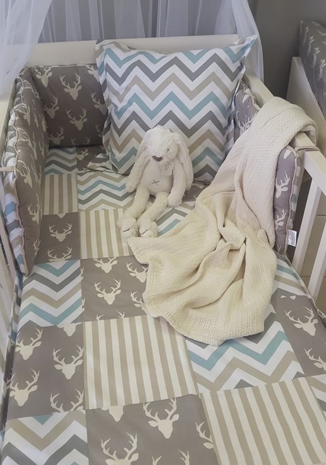 Our #WoodlandPals fabrics match well with our #DuckEgga nd #Grey fabrics, perfect for any #BabyBoy!  #BabyBedding #BabyLinen