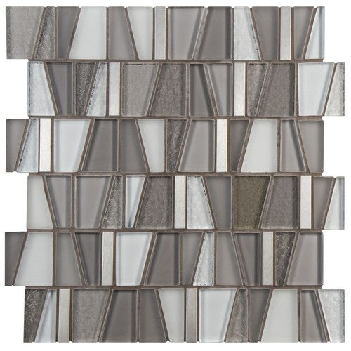 "Found it at Wayfair - Trapeze 11.75"" x 11.875"" Glass and Aluminum Mosaic Tile in…"