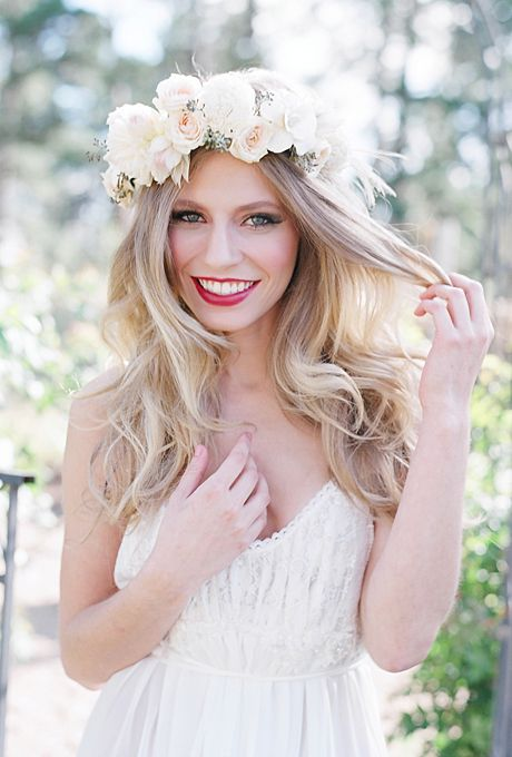 Brides: The Prettiest Wedding Hairstyles with Flower Crowns| A Romantic White and Blush Flower Crown | Photo by Laura Murray