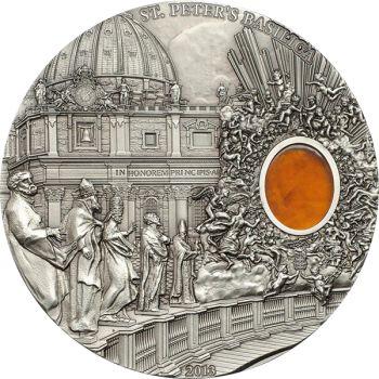 Palau 2012 10$ St. Peter's Basilica Mineral Art 2 oz UNC Silver Coin