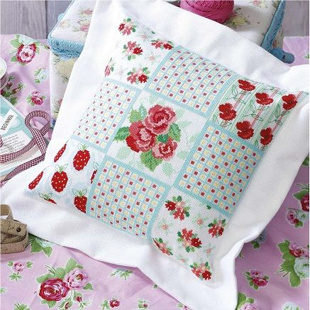Cross-stitch pattern for cushion Scarlet Blooms(Patchwork cushion)Work this pretty patchwork cushion in gorgeous thread shades