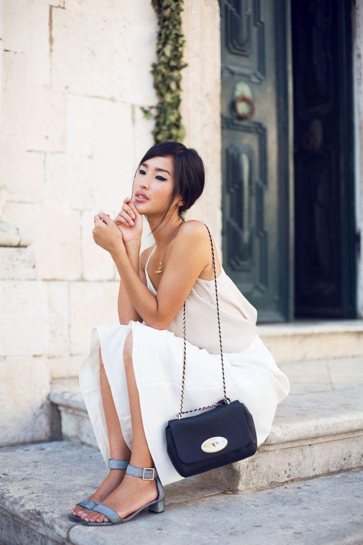 Midi white skirt, silk top, strap sandals | garypeppergirl