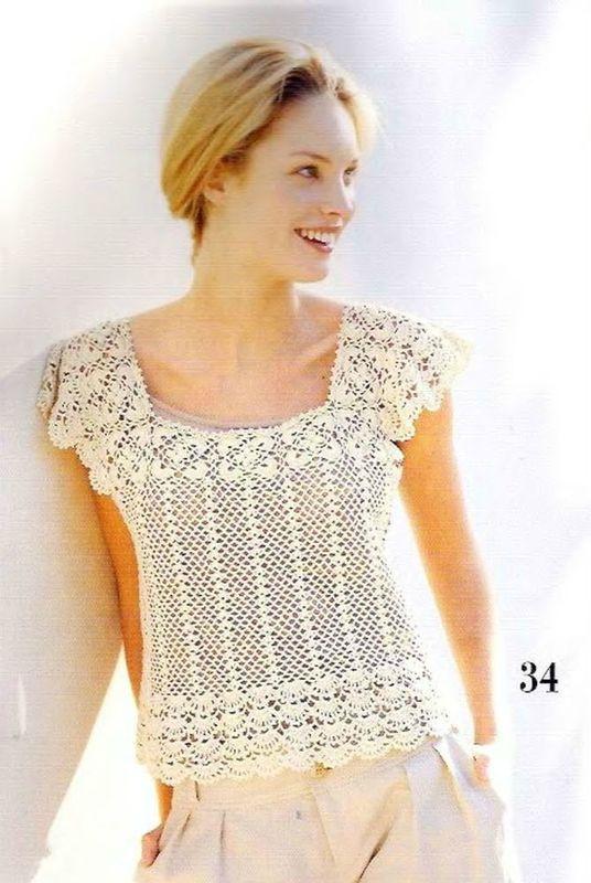 Crochet, Pull d'été manche courte § buono per una maglietta con sprone quadrato §