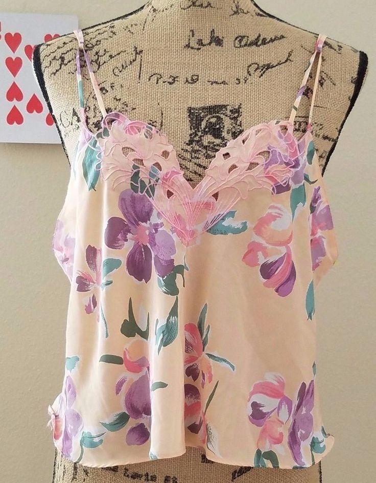 Victorias Secret Women's Camisole Top Pink Blue Floral Large 100% Polyester EUC #VictoriasSecret