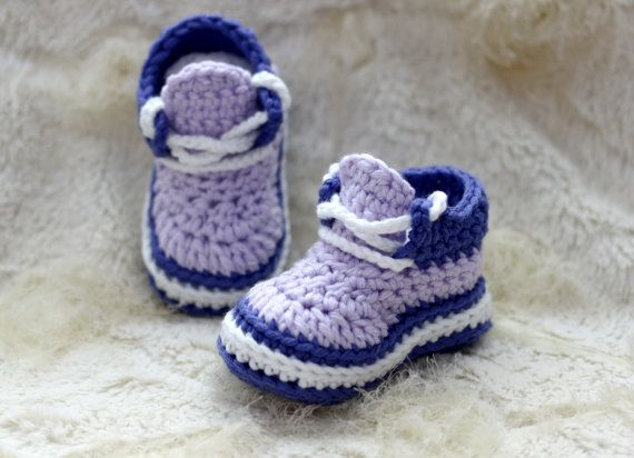 Crochet Baby Girl Sneakers Shoes Crochet Baby Girl ♡ by LoopsInBloom