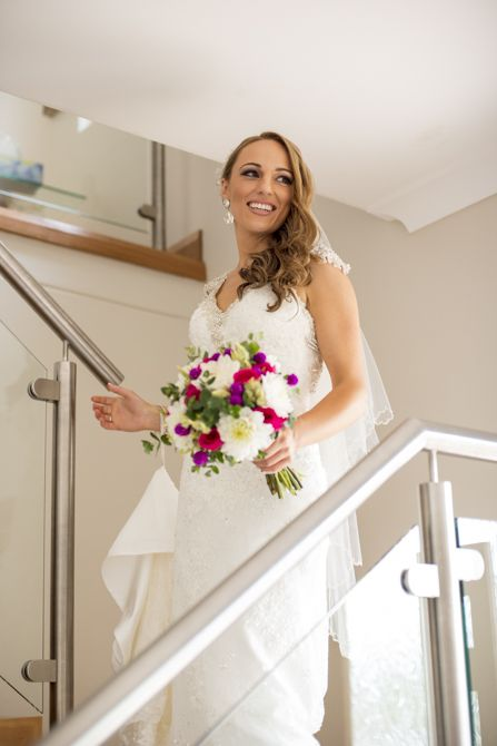 A great shot idea: The bride's expression at the moment everyone sees her as a bride for the first time #weddingphotography #sydneyweddingphotographer #markjayphotography #bride #bouquet #weddingdress