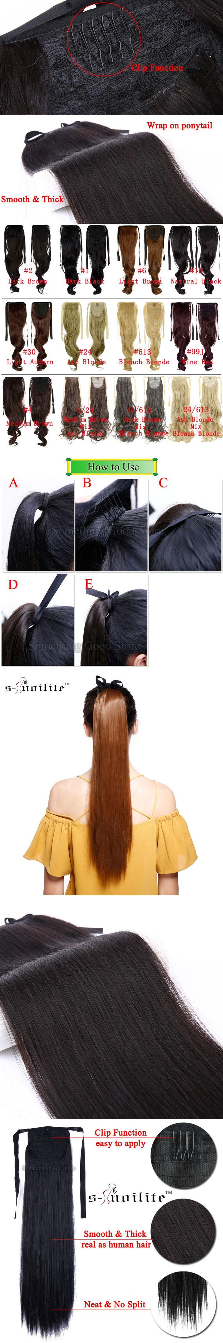 """SNOILITE Long Thick Ponytails 18 & 22"""" Synthetic Clip In Ponytail Hair Extensions Hair piece Natural Color Women Dress"""