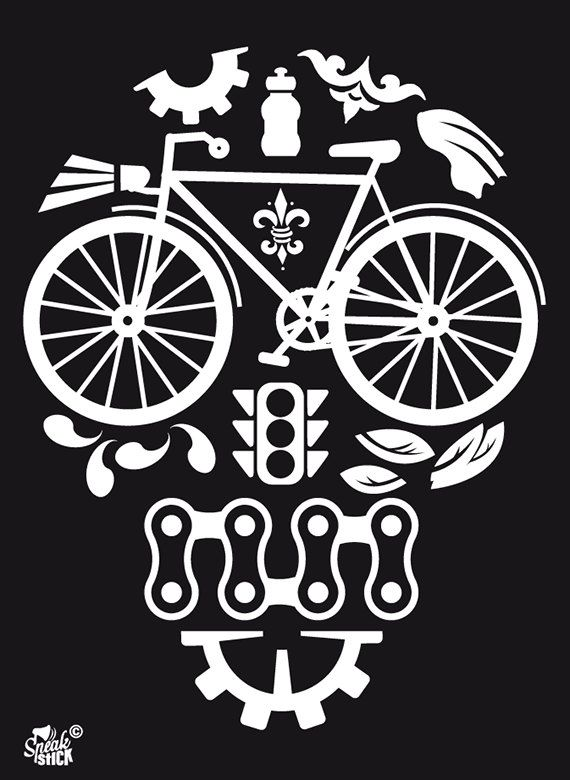 Bicycle Decal-Reflective Sticker for your bike - Skull made of bicycle items - Bicycle accesories for spokes,frame,helmet,water bottle-