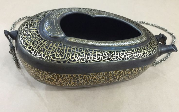 SPLENDID OLD KASHKUL PERSIAN GOLD INLAID WATERED STEEL ISLAMIC KUFI QAJAR SCHOOL
