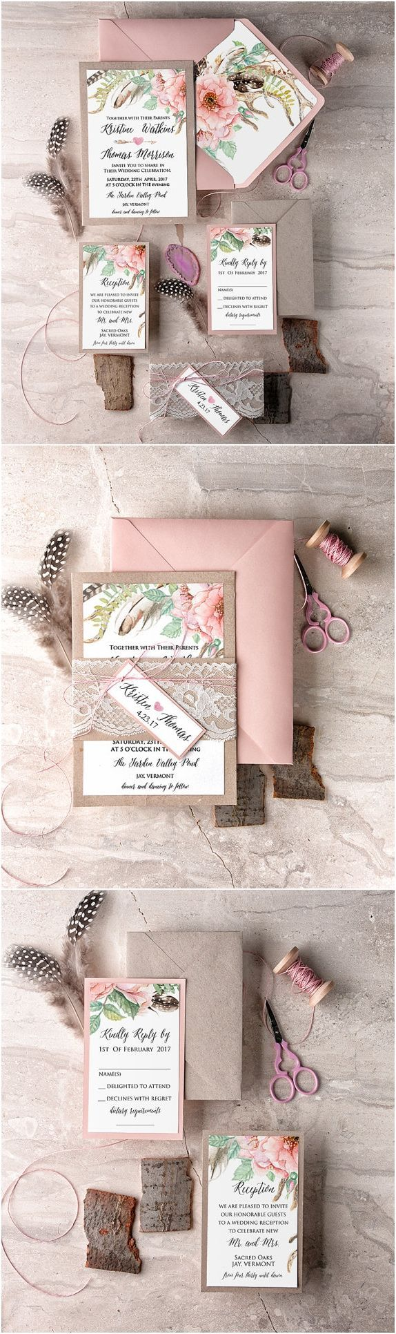 Blush Lace Wedding Invitation, Boho Wedding Invitations, Romantic Wedding Invites, Wedding Invitation Suite