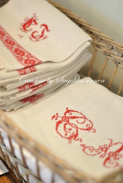 red monogrammed kitchen linens