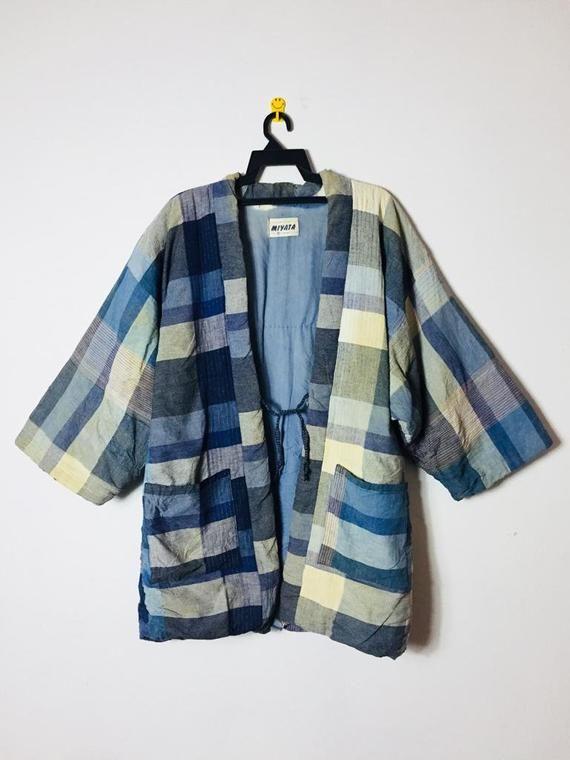 Vintage Japanese Hanten Like Patchwork Jacket Kimono Japan Streetwear Fashion Noragi Happi Kendo Hakama Hanten Padded Jacket
