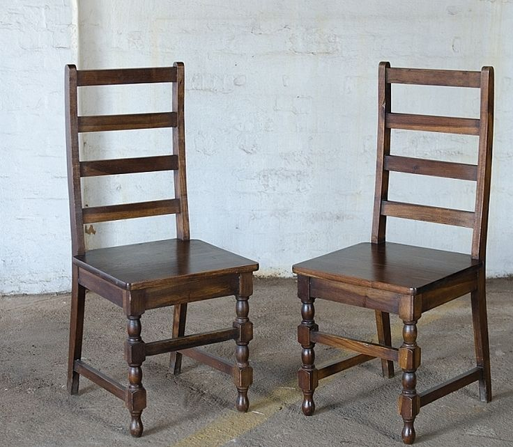 SOLD! #NorthcliffAntiques Ladder-back dinning room chairs with a solid base. Made from Mahogany or Walnut wood, with baluster twisted legs. #Johannesburg #CottageCountryFurniture  #DinningRoomChairs