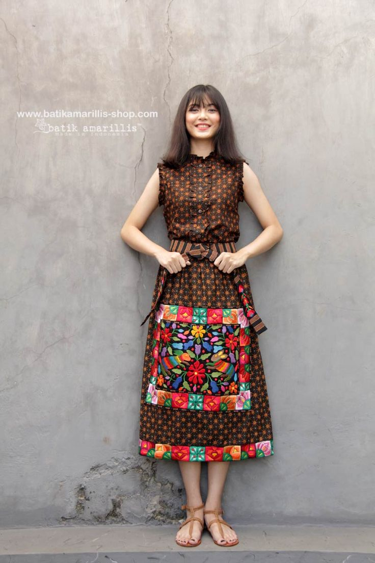 Batik Amarillis made in Indonesia proudly presents Batik Amarillis's La Romaine skirt , such a beautiful Romanian folk costume inspired which features classic batik truntum Sragen and Mexican folk embroidery inspired - this skirt either can be worn from front side or back side , both look equally beautiful  -