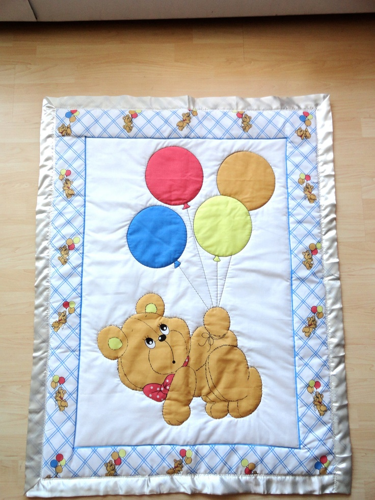 Bear With Balloons Baby Panel Quilt 75 00 Via Etsy