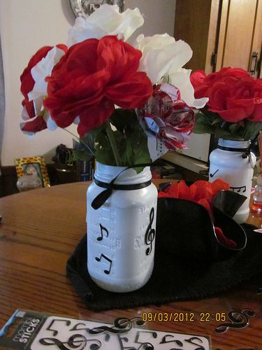 music themed Rehearsal Dinner Centerpieces | music themed wedding | thelissachronicles