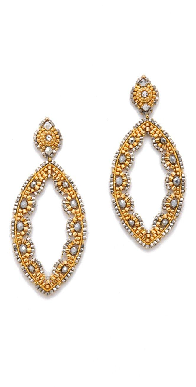 Miguel Ases Pyrite Quartz Earrings | SHOPBOP