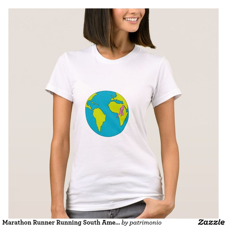 Marathon Runner Running South America Africa Drawing. T-shirt for women featuring a drawing style illustration of a marathon triathlete runner running viewed from the side set inside a globe showing South America and Africa. #marathon #runner #tshirt