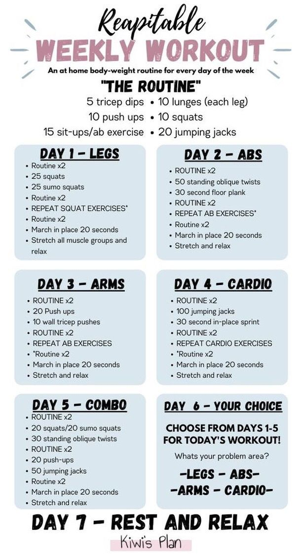 Weekly Workout Daily Workout Plan Weekly Workout Workout Plan For Beginners