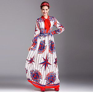 LD LINDA DELLA New Fashion Runway Designer Maxi Dress Women's Long Sleeve Sashes Printed Long Dress