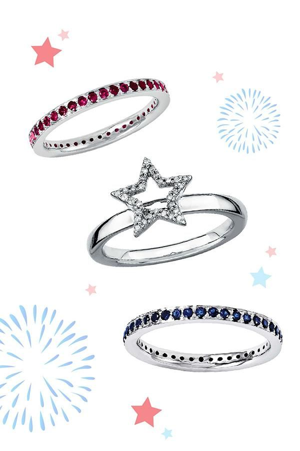 Create your own unique red, white and blue style with stackable gemstone rings.