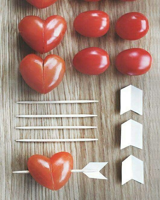 Tomato Hearts - Cute idea for Valentines Day or an anniversary dinner.