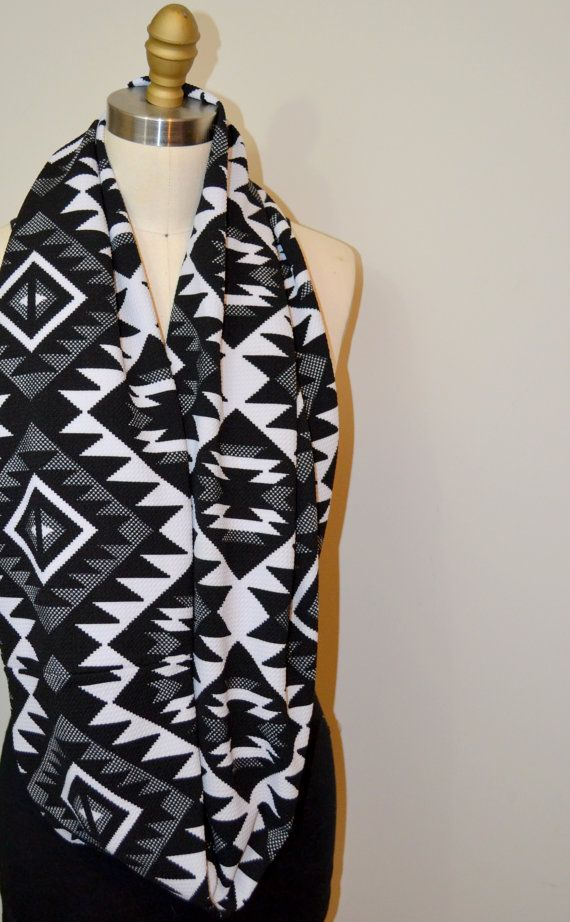 Infinity Scarf Black White and Gray Aztek by BusrHeartsScarves