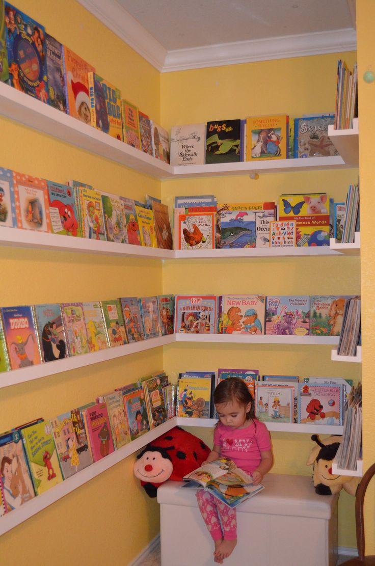 Bookshelves in the bedroom.