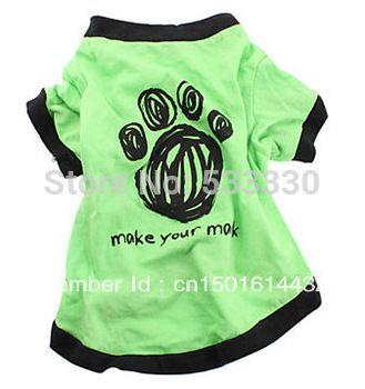 Бесплатная доставка оставить свой след хлопка футболку для собак ( грин, различные размеры ), одежда для собак, собака рубашки, собака платье