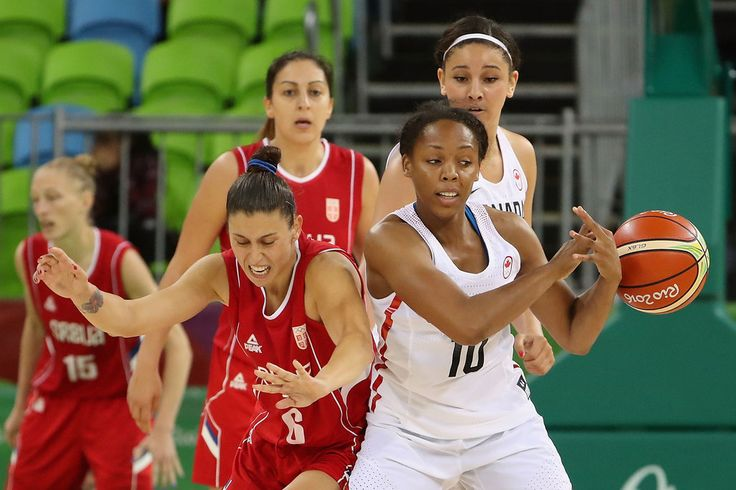 Sasa Cado #6 of Serbia and Nirra Fields #10 of Canada battle for a loose ball during the women's basketball game on Day 3 of the Rio 2016 Olympic Games at the Youth Arena on August 8, 2016 in Rio de Janeiro, Brazil. (Source: Christian Petersen/Getty Images South America)