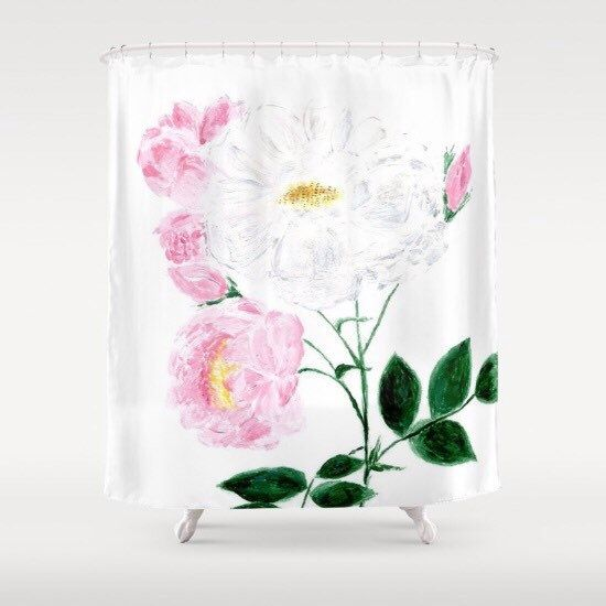 Rose Shower Curtain, pink shower curtain, white shower curtain, modern shower curtain, rose bathroom, flower shower, floral shower curtain by lake1221 on Etsy https://www.etsy.com/listing/467440811/rose-shower-curtain-pink-shower-curtain