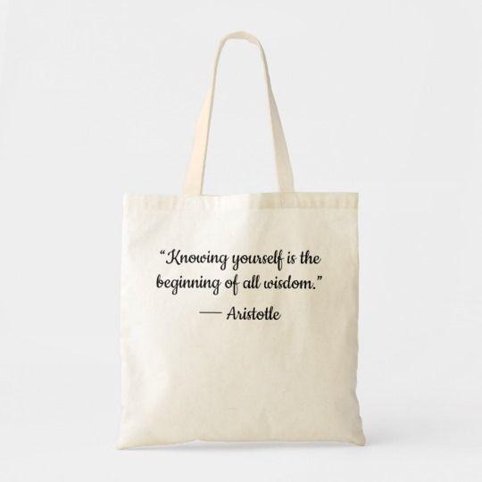 Knowing Yourself Aristotle quote Wisdom Tote bag | Zazzle ...