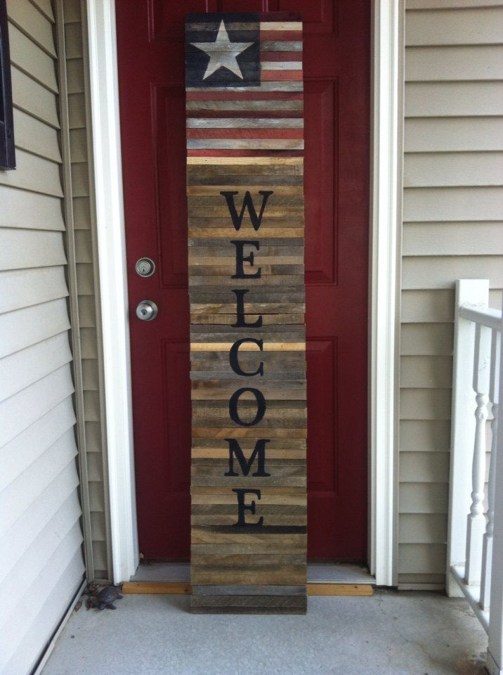 Shutter style reclaimed wood pallet tall Welcome sign with flag by WithLoveSadie on Etsy