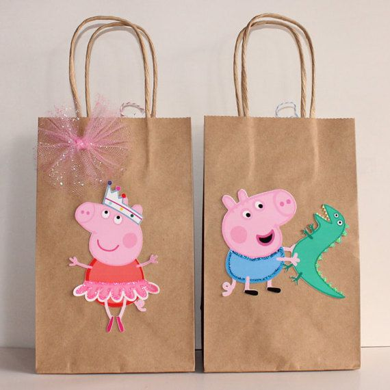 Bolsos de fiesta Favor de Peppa Pig por CelebrationGoods en Etsy                                                                                                                                                                                 More