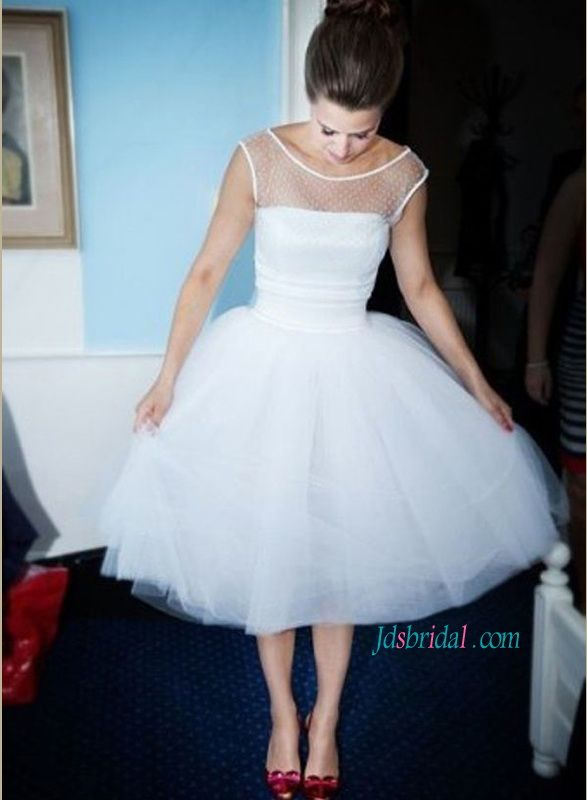 1950s simple white tulle vintage tea length wedding dress with scoop neck