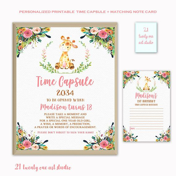 Giraffe Time Capsule Sign Time Capsule Sign First Birthday