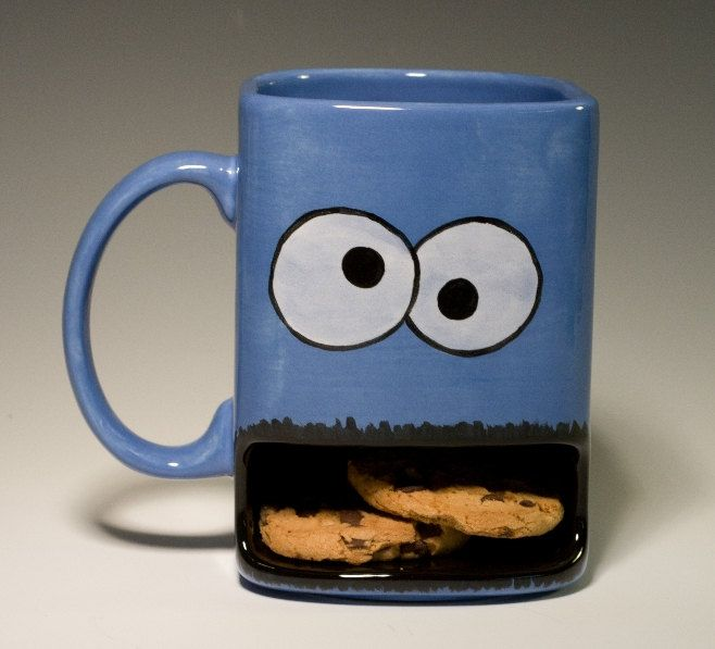 Cookie Monster Mug with opening for holding cookies underneath. So cute!