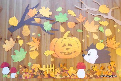 Herbstliche Fensterdekoration (Blätter, Kürbis, Igel) – Verscrappt.de