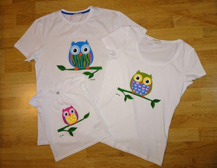 Tricouri - Owl Family  #tricouripictate #paintedtshirts