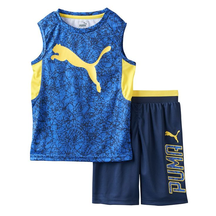 Toddler Boy PUMA Graphic Performance Tank Top & Shorts Set, Size: 2T, Blue Other