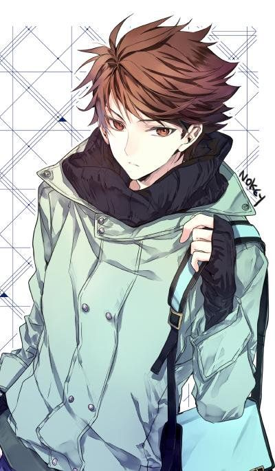 anime boy brown hair